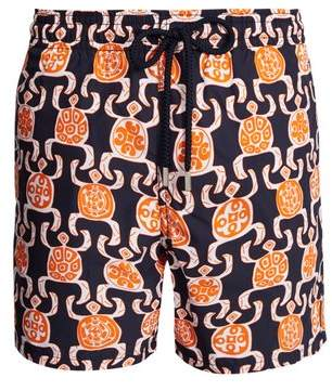 Vilebrequin Moorea Primitive Turtles Print Swim Shorts - Mens - Blue Multi