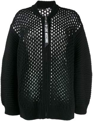 Love Moschino loose knit zip cardigan