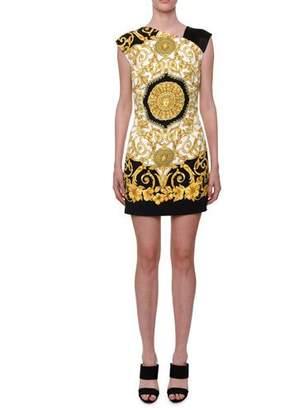 Versace Asymmetric-Neck Sleeveless Hibiscus-Print Mini Dress