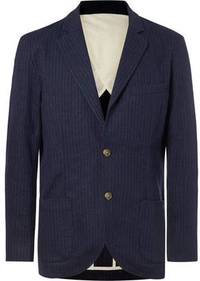 De Bonne Facture Pinstriped Brushed Cotton And Wool-Blend Blazer