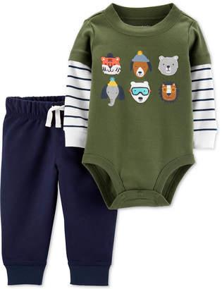 Carter's Carter Baby Boys 2-Pc. Cotton Layered-Look Bodysuit & Jogger Pants Set
