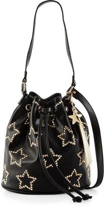 Betsey Johnson Night Lights Star-Studded Bucket Bag, Black $80 thestylecure.com