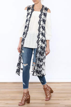 Hazel Embroidered Sleeveless Duster $70 thestylecure.com