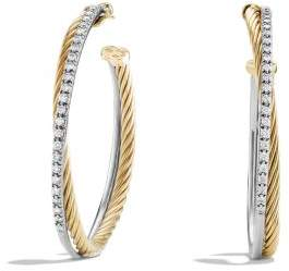 David Yurman Crossover Extra-Large Hoop Earrings With Diamonds In 18K