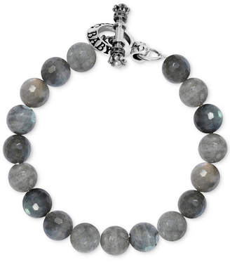 King Baby Studio Men's Labradorite Beaded Bracelet in Sterling Silver
