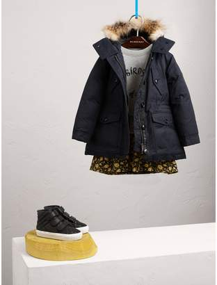 Burberry Detachable Fox Fur Trim Down-filled Hooded Puffer Coat