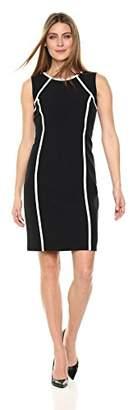 Kasper Women's Stretch Crepe Jewel Neck Dress with Contrast Lining
