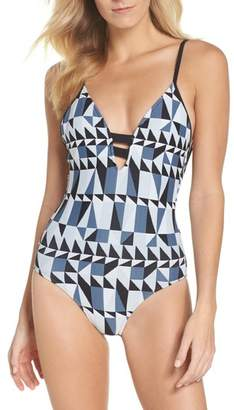 Seafolly Jagged Geo Deep-V One-Piece Swimsuit