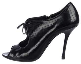 Le Silla Lesilla Patent Leather Peep-Toe Booties Black Lesilla Patent Leather Peep-Toe Booties