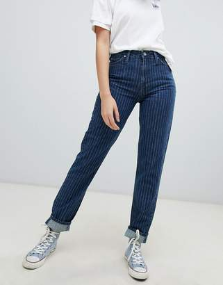 Lee high rise mom jean in pinstripe