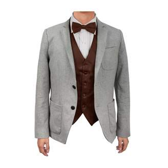 Dan Smith DGEE0010-XL Red Solid Microfiber Christmas Tuxedo Vest Satin Presents For Evening Vest Matching Bow Tie