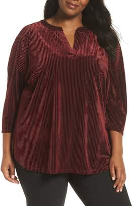 Sejour Shadow Stripe Velour Top