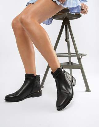 Dune Peppey Black Leather Croc Mix Flat Ankle Boots