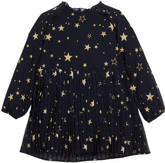 Mayoral Pleated Star-Print Long-Sleeve Dress Size 3-7