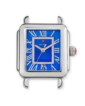 Michele Madison Watch Head with Diamonds, Silver/Cobalt