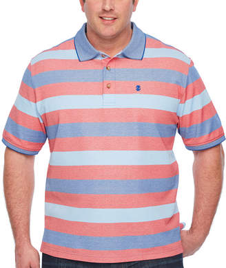 Izod Short Sleeve Natural Stretch Striped Knit Polo Shirt Big and Tall