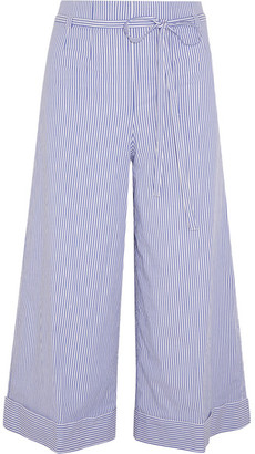 J.Crew - Banada Striped Stretch-cotton Wide-leg Pants - Blue $245 thestylecure.com