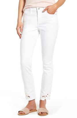 Women's Nydj Alina Eyelet Hem Stretch Skinny Jeans $134 thestylecure.com