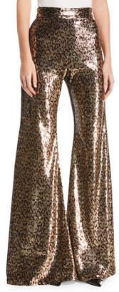Halpern Sequined Leopard-Print Pants
