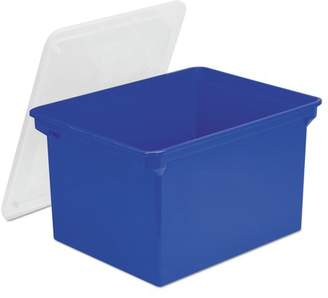 clear Storex Plastic File Tote Storage Box, Letter/Legal, Snap-On Lid, Blue STX61554U01C