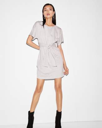 Express Heathered Tie Front Dolman Dress