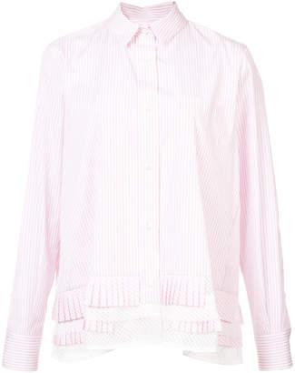 Sacai striped pleated shirt
