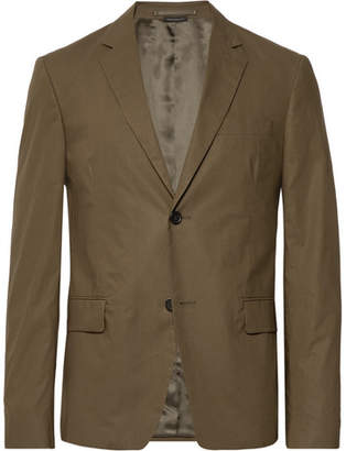 Prada Army-Green Slim-Fit Cotton-Poplin Suit Jacket