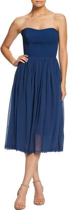 Dress the Population Willow Strapless Crepe Chiffon Cocktail Dress