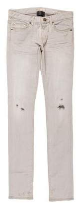 Saint Laurent Distressed Skinny-Leg Jeans