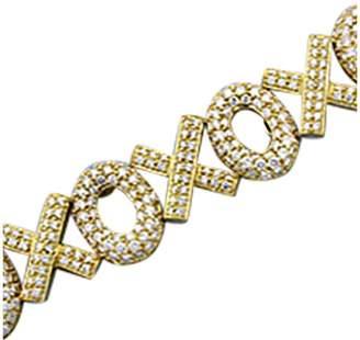 "18K Yellow Gold Pav Diamond "" Hugs & Kisses"" Bracelet"