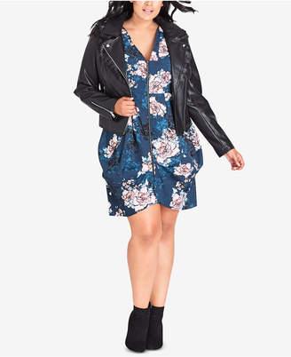 City Chic Trendy Plus Size Faux-Fur-Collar Jacket