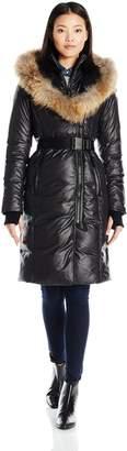 Rudsak Rud by Women's Jasmine Belted Down Coat with Fur Hood Trim