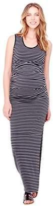 Ingrid & Isabel Women's Maternity Stripe Pleated Tank Maxi Dress, Black/Heather Grey