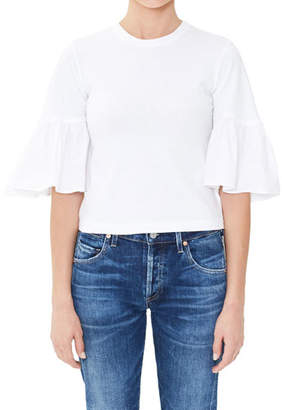 Citizens of Humanity Runa Flutter-Sleeve Cropped Tee
