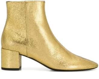Saint Laurent cracked texture ankle boots
