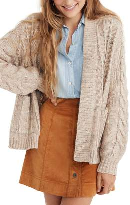 Madewell Bubble Sleeve Cable Knit Cardigan Sweater