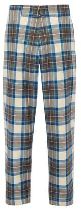 Marni Checked Wool Trousers - Mens - Blue