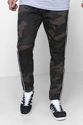 boohoo Camo Trousers With Side Piping Detail