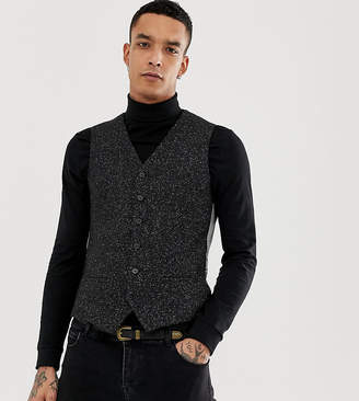Heart N Dagger skinny suit vest in herringbone fleck tweed