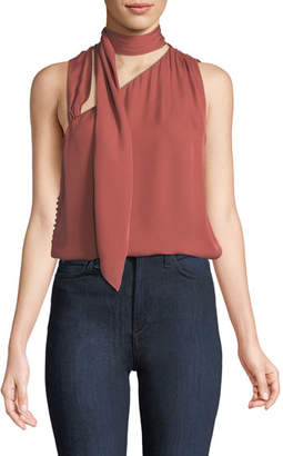 Haute Hippie Golden Hour Tie-Neck Silk Tank Top