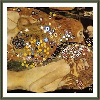 "Gustav Alonline Art - Water Serpents Snakes Klimt Green FRAMED POSTER (Print on 100% Cotton CANVAS on foam board) - READY TO HANG | 20""x20"" | Giclee Framed Wall Art For Bedroom Framed Paints"