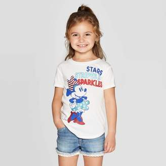 Minnie Mouse Toddler Girls' Minnie Mouse Short Sleeve T-Shirt - Ivory