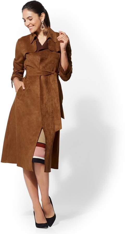New York & Company Faux-Suede Belted Trench Coat