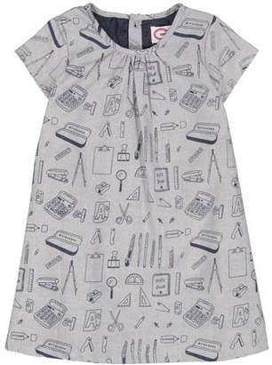G-Cutee Toddler Girl Blue Oxford School House Print A-Line Dress