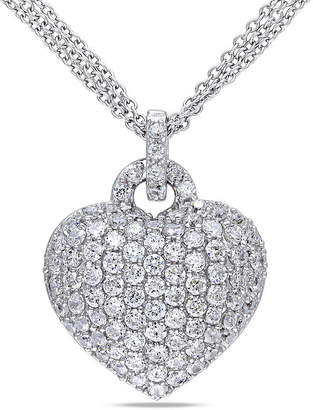FINE JEWELRY Womens White Sapphire Sterling Silver Heart Pendant Necklace