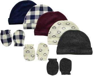 Hudson Baby Infant Cotton Cap and Scratch Mitten Set