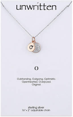 """Unwritten Initial & Crystal Disc Pendant Necklace in Rose Gold-Tone Sterling Silver, 16"""" + 2"""" extender"""