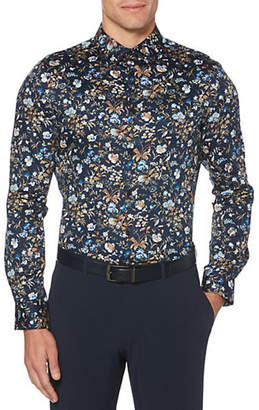 Perry Ellis Big Tall Satin Floral Print Long Sleeve Woven
