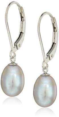 Bella Pearl Sterling Silver Freshwater Pearl Lever Back Drop Earrings
