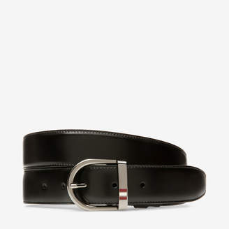 Bally Darkon 35Mm Black, Men's split bovine leather adjustable/reversible casual belt in black